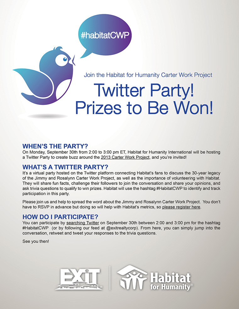Join the Twitter Party for Habitat for Humanity's Carter Work Project! Prizes to Be Won!